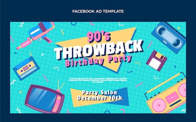 Flaches design 90er jahre nostalgischer geburtstag facebook