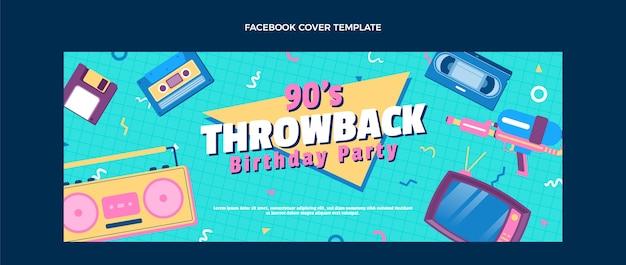 Flaches design 90er jahre nostalgisches geburtstags-facebook-cover