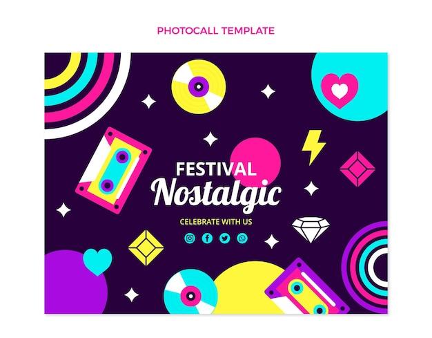 Flaches design 90er jahre nostalgisches musikfestival fototermin