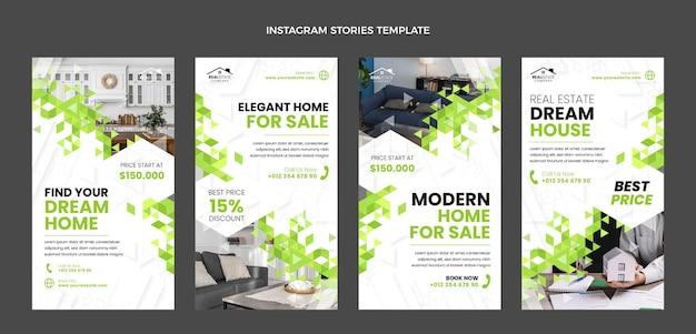 Flaches design abstrakte geometrische immobilien instagram-geschichten