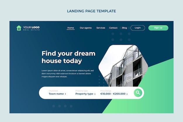 Flaches design abstrakte geometrische immobilien-landingpage