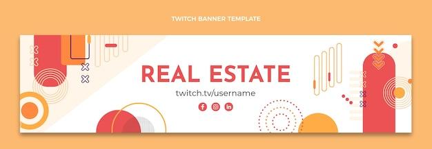 Flaches design abstrakte immobilien-twitch-banner