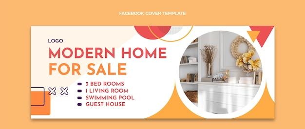 Flaches design abstraktes immobilien-facebook-cover