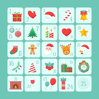 Flaches design adventskalender vorlage