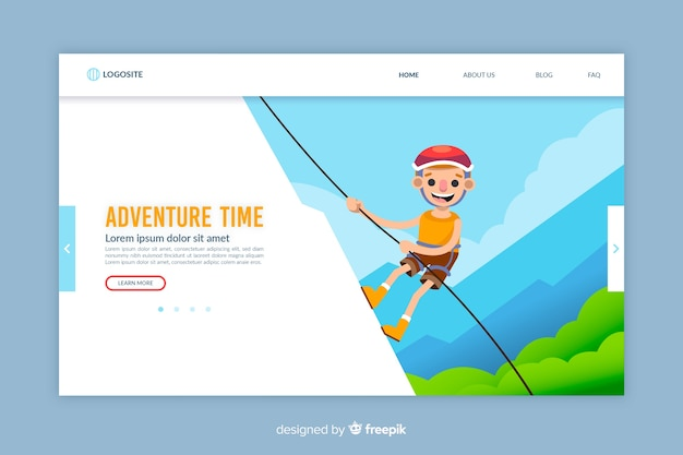 Flaches design adventure landing page vorlage