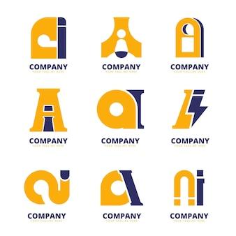 Flaches design ai logo-sammlung