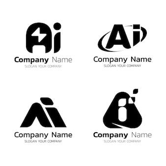 Flaches design ai logo-schablonenpaket