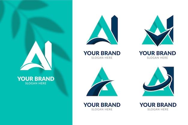 Flaches design ai logo-schablonenset