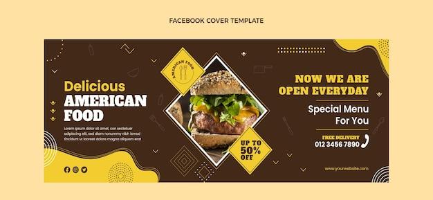 Flaches design amerikanisches essen facebook-cover