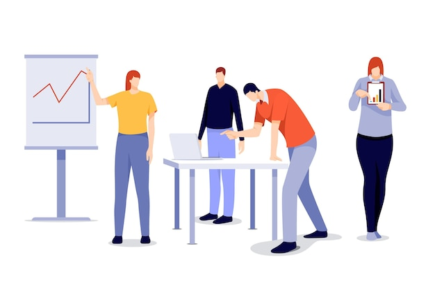 Flaches design arbeitstagszenenpaket