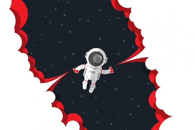 Flaches design, astronaut drücken auf roten rauch der knopfsprühfarbeflaschen-produkteinführung beim schwimmen auf raum, vektorillustration herunter