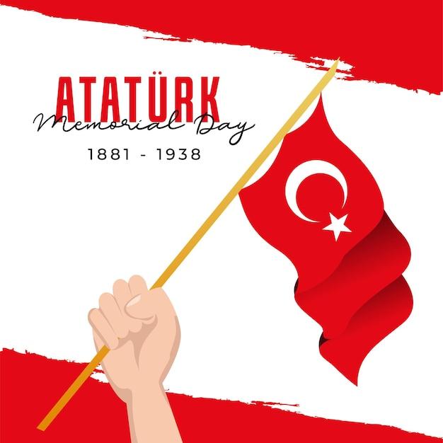 Flaches design atatürk memorial day banner vorlage