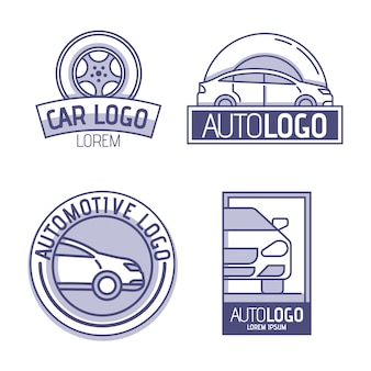 Flaches design auto logo pack