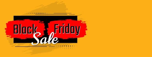 Flaches design-banner der gelben farbe für den verkauf am schwarzen freitag