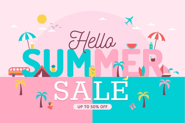 Flaches design banner hallo sommer verkauf