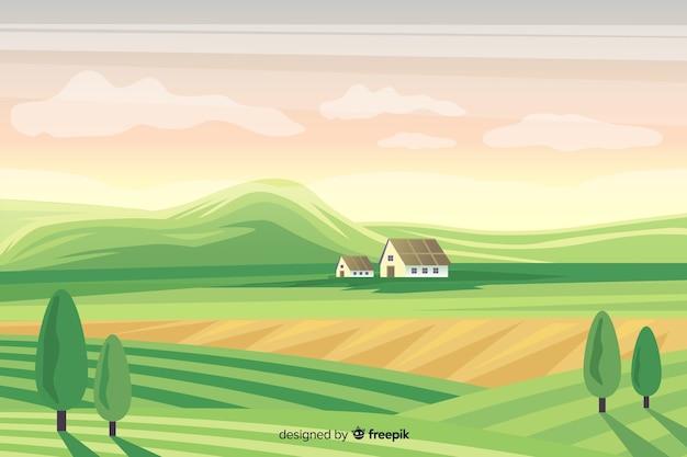 Flaches design bauernhof landschaft hintergrund