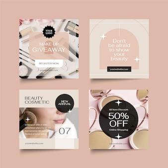 Flaches design beauty instagram post set