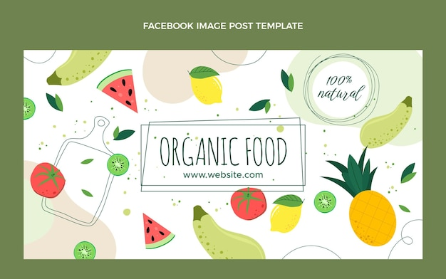Flaches design bio-lebensmittel facebook-post