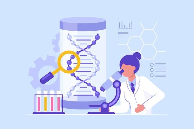 Flaches design-biotechnologiekonzept mit wissenschaftler