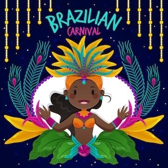 Flaches design brasilianischer karnevalskonzept