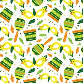 Flaches design brasilianisches karnevalsmuster