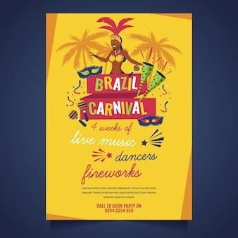 Flaches design brasilianisches karnevalsplakat-schablonenthema