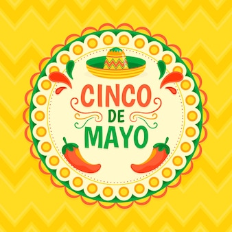 Flaches design buntes cinco de mayo-thema