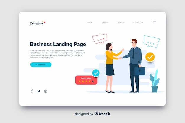 Flaches design business strategie landing page