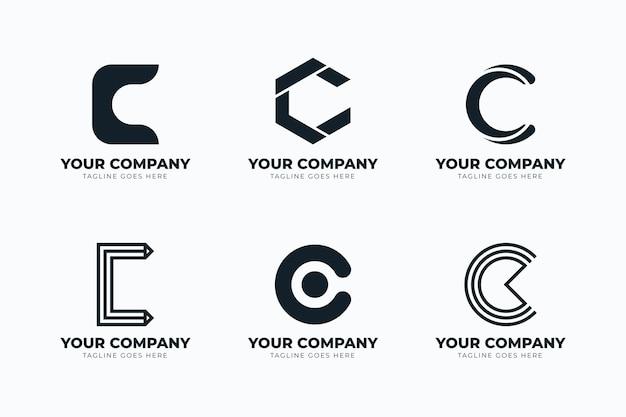 Flaches design c logo-schablonenset