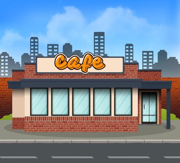 Flaches design cafe-ladenfront