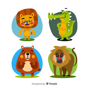 Flaches design cartoon tiere pack