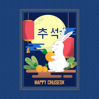 Flaches design chuseok-häschen, das frucht hält