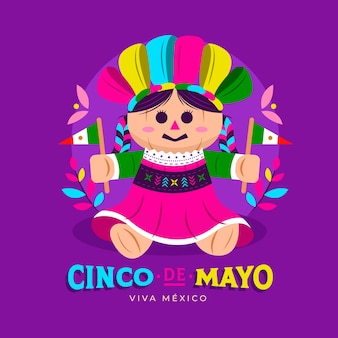 Flaches design cinco de mayo-konzept