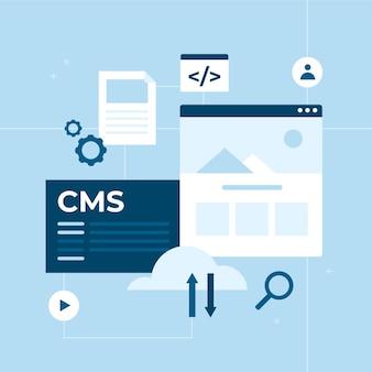 Flaches design-cms-konzept mit offenen apps