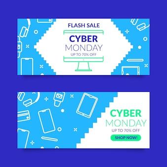 Flaches design cyber montag banner sammlung