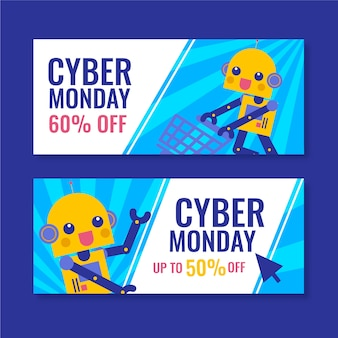 Flaches design cyber montag banner vorlage