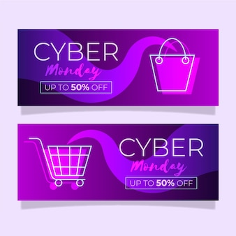 Flaches design cyber montag banner