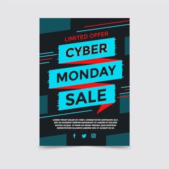 Flaches design cyber montag flyer vorlage