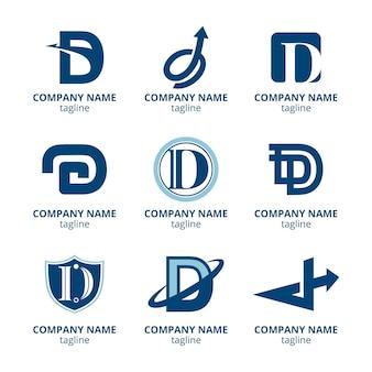 Flaches design d logo-sammlung