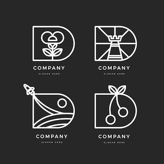 Flaches design d logo-schablonensammlung