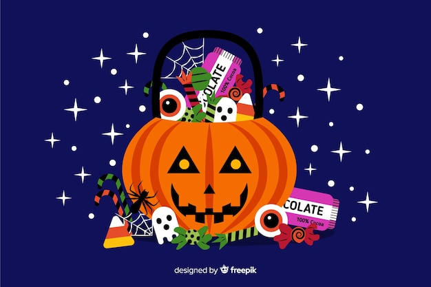 Flaches design dekorativen halloween-hintergrundes