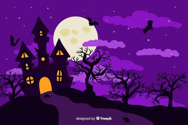 Flaches design dekorativen halloween-hintergrundes