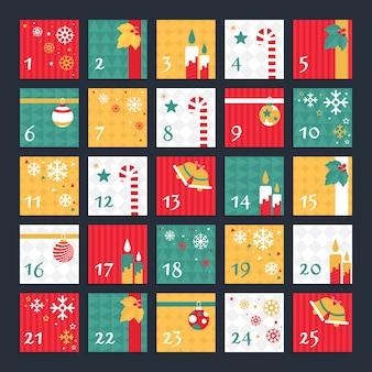 Flaches design dekoriert adventskalender
