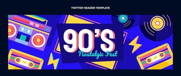 Flaches design der 90er jahre musikfestival twitter-header