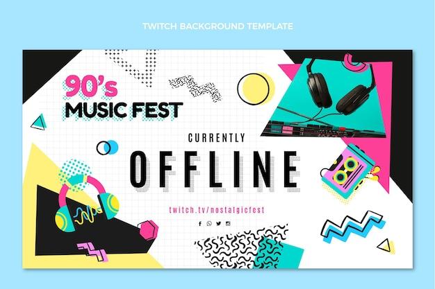 Flaches design der 90er jahre musikfestival zuckender hintergrund