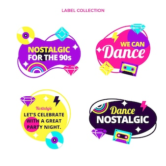 Flaches design der 90er jahre nostalgische musikfestival-labels