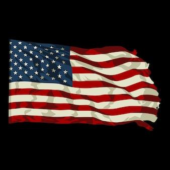 Flaches design der amerikanischen flaggenillustration