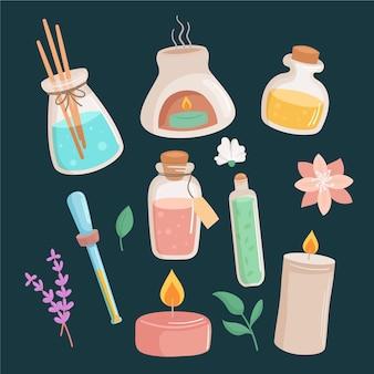 Flaches design der aromatherapie-elementsammlung