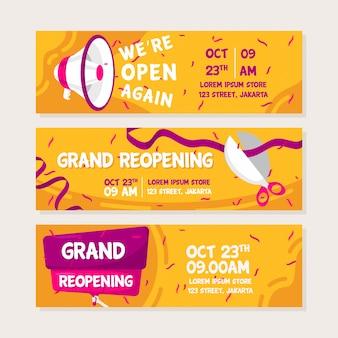 Flaches design der baldigen wiedereröffnung von bannern