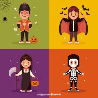 Flaches design der bunten halloween-kindersammlung